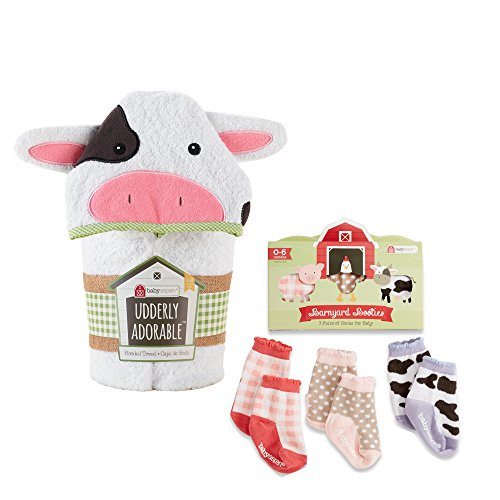 Baby Aspen Farm Bundle of Cow Hooded Towel and Farm Socks - 1