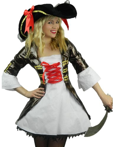 Yummy Bee Womens Pirate Cosplay Costume + HAT+ SWORD Plus Size 2-10