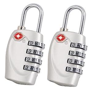 TRIXES x 2 Cadenas avec code à 4 chiffres TSA pour valises et sacs argent