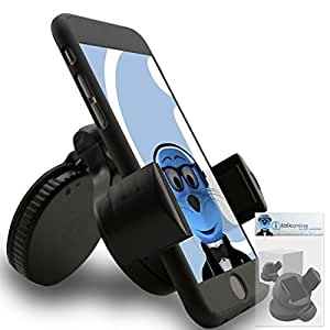 iTALKonline iHOLDER Samsung Galaxy S7 Active Black COMPACT 360 Degrees Rotating In Car Case Compatible Wind Screen Dashboard Suction Mount Holder