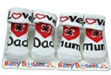 I Love Mum or I Love Dad Unisex Baby socks Booties I Love Mum