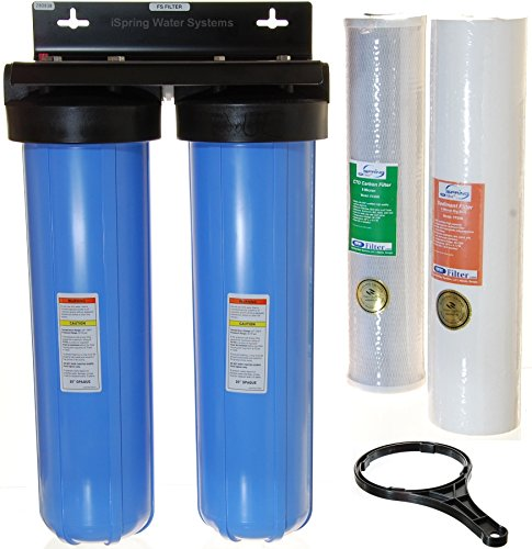 iSpring WCB22B 2-Stage 20-Inch Big Blue Whole House Water Filter 1-Inch NPT Carbon