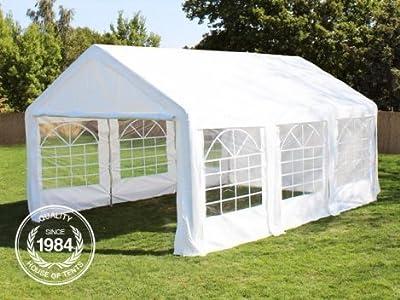 Hochwertiges Zelt Partyzelt 3x6 6x3 m Pavillon Gartenzelt 240g/m² PE Plane ! Stahlkonstruktion ! Inkl. 6 Seitenteile + 2 Giebelteile mit Eingang ! weiß von PROFIZELT24 auf Gartenmöbel von Du und Dein Garten