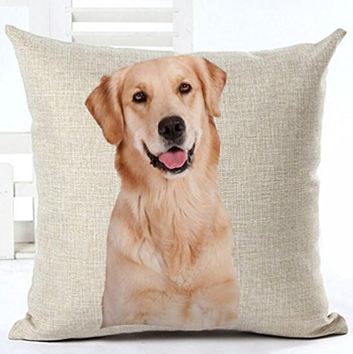 Cotton Linen Cute Funny Various Pet Dogs Human Friends Golden Retriever Throw Pillow Covers Cushion Cover Decorative Sofa Bedroom Living Room Square 18 Inches