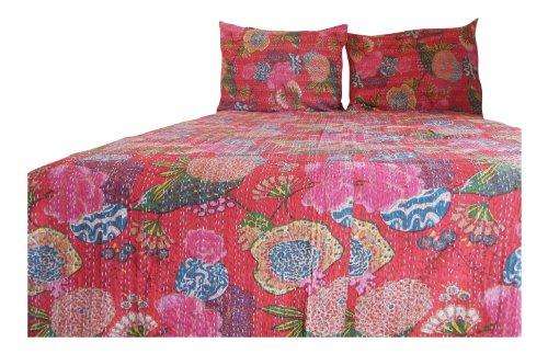 Designer Comforter Set Cotton Kantha Quilts Bedspreads(Dark Pink,Twin) front-875052