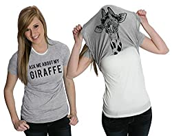 Women's Ask Me About My Giraffe T Shirt Funny Costume Flip Up Shirt by Crazy Dog Tshirts