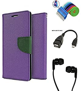 MAX JIO Wallet Flip Case Back Cover For Lenovo Vibe P1 -Purple With Champ Earphone(3.5mm jack) + Micro USB OTG Cable + Usb Smiley Cable Combo Set
