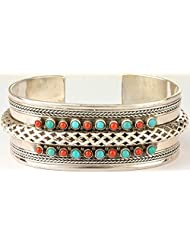 Exotic India Turquoise And Coral Cuff Bracelet - Sterling Silver