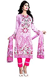 Justkartit Women's Unstitched Pink Colour Floral Print Karachi Style Salwar Kameez / Party wear Printed Salwar Kameez / Resham Crepe Casual Smart Workwear Salwar Suit Set