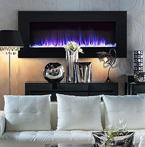 High-End 36 inch LED Streamline Flat Wall Mount Electric Fireplace - Black - End 36 Inch LED Streamline Flat Wall Mount Electric Fireplace - Black