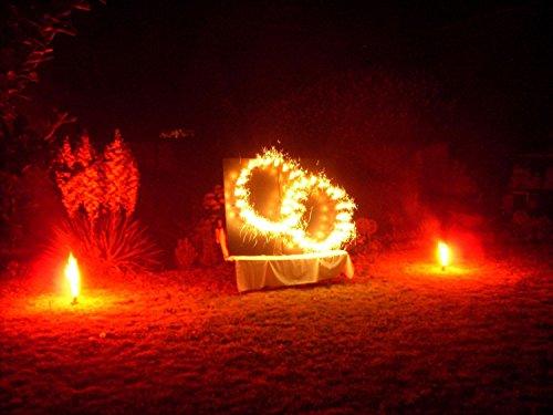 Lichterbild brennende Eheringe gross mit 2 Bengallichter thumbnail