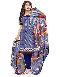 SareeShop Women's Georgette Semi-Stitched Dress Material (B2B3004_Blue_Free Size)