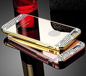 CLASSICO DIAMOND Luxury Aluminium Bumper Plus Mirror Acrylic Back Cover For Iphone 6(GOLD)