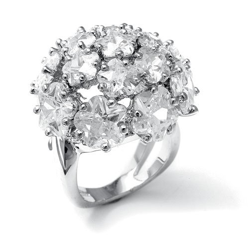 Designer Special Occasion Ring with CZ Clovers 9