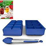 Silicone Ice Cube Tray - Large Ice Maker Mold, Set of 2 Plus 8in Kitchen Tong and Free Ebook