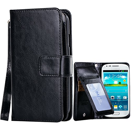 Galaxy S3 Case, S3 Wallat Case, BENTOBEN [9 Card Slots][Money Pocket] PU Leather Flip Folio Wallet Case ID&Credit Card Holder with Wristlet for Samsung Galaxy S3 i9300 , Black (Wristlet For Samsung Galaxy S3 compare prices)