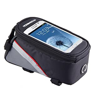 Cycling Bike Bicycle 5.5 inches Mobile Cell Phone Pannier Front Top Tube Bag -Red