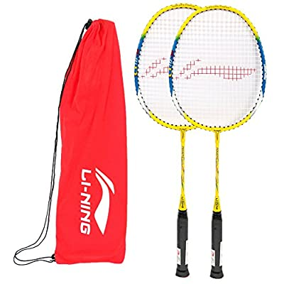 Li-Ning Q10 JR Basic Q series Badminton Racquet White/Blue with Grip Pack of 2