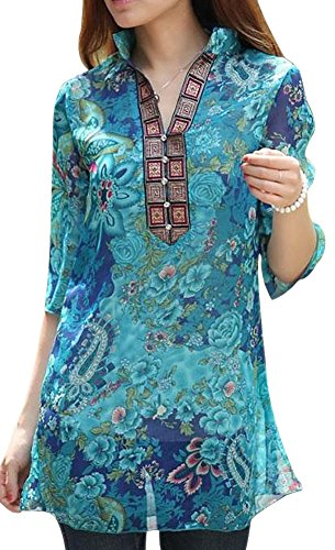 VonFon Womens Vintage Colourful Floral Print Casual Slim Shirt Blouse Top (Ladies Blouses And Tops compare prices)