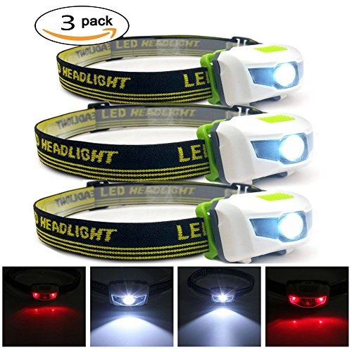 Ulako Headlamp Flashlight Cree LED White and Red Lights for BBQ Camping Running Hunting Hiking Reading Pack of 3 (Bbq Camping compare prices)