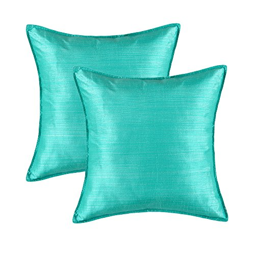 "Review SET OF 2 Euphoria Cushion Covers Pillows Shells Light Weight Dyed Stripes Aqua Color 18""..."
