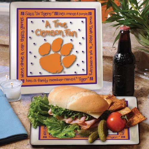 Ncaa Clemson Tigers True Fan Ceramic Square Plate