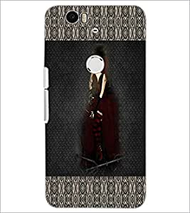 PrintDhaba Hat Girl D-3030 Back Case Cover for HUAWEI NEXUS 6P (Multi-Coloured)