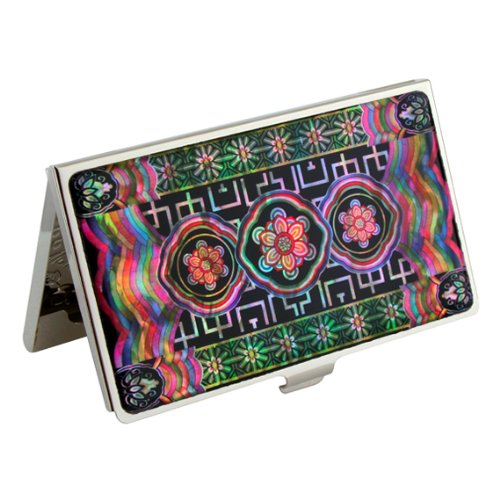 mother-of-pearl-korean-roof-multi-color-painting-design-metal-business-credit-name-id-card-holder-ca
