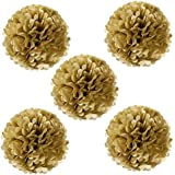 Wrapables Tissue Pom Poms Party Decorations for Weddings, Birthday Parties and Baby Showers, 8-Inch, Gold Metallic, Set of 5