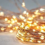 Fairy Star String Lights - Extra Long 39ft Warm White LED Copper Wire Indoor Outdoor - Wall adapter AND BONUS Battery Adaptor Included plus Remote Control