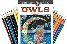Creative Haven Owls Coloring Book and Set of Twiggler Colored Pens and Pencils