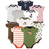 Luvable Friends Baby Boy and Girl 10 Pack Bodysuits, Boy Nautical & Moose, 6-9 Months