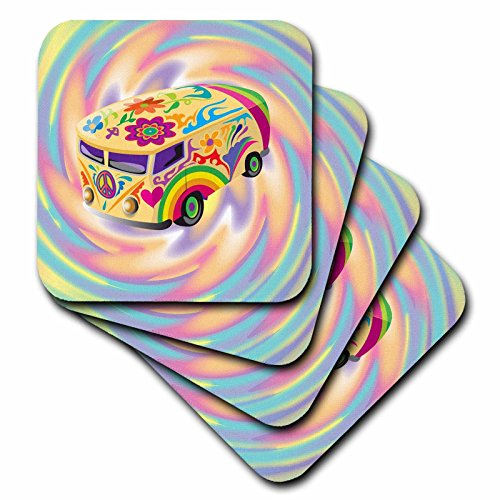 3dRose Funky Retro Hippie Sixties Seventies Bus with Swirly Psychedlic Background - Soft Coasters, Set of 4 (60s Background)
