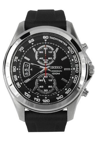 Seiko Chronograph Black Dial Stainless Steel Black Rubber Mens Watch Snn255P2