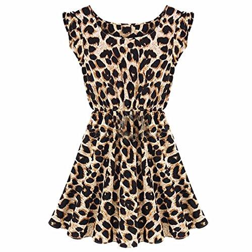 Una Sin Plisado De Qiyun Verano Mujeres Mangas Vestido Leopardo Tunica z Vestir La Cereales Linea Las vmnON0w8