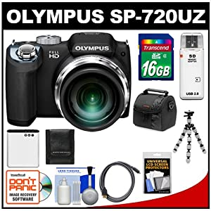 Olympus SP-720UZ Digital Camera (Black) with 16GB Card + Battery + Case + Flex Tripod + HDMI Cable + Cleaning Kit