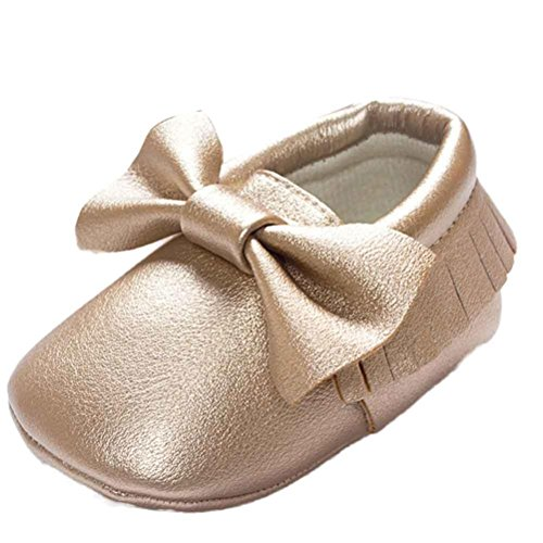 Voberry Baby Boys Girls Soft Soled Tassel Bowknots Crib Shoes PU Moccasins (12~18M, Gold)