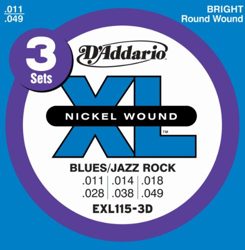 D'Addario EXL115 3-pack - .011-.049 Blues/Jazz