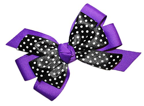 Webb Direct 2U Girls Purple Dotted Grosgrain Hair Bow On Alligator Clip (5174A) front-788640