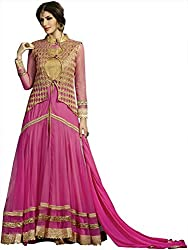 Shine Kreations Women's Georgette & Net Unstitched Salwar Suit (S-15, Pink)