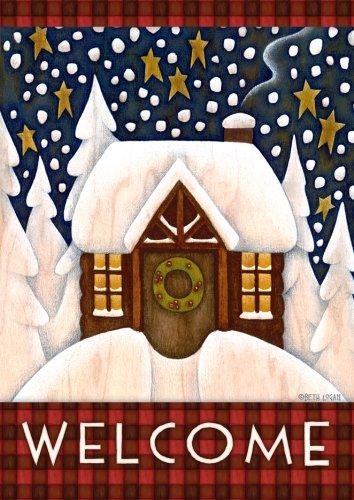 Toland Home Garden Snowy Cabin Garden Flag 111219