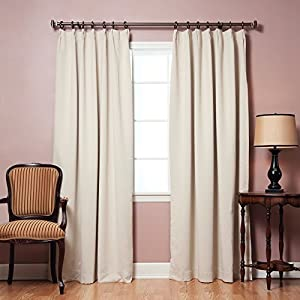 Best Home Fashion Beige Pinch Pleated Thermal Insulated Blackout Curtain 84 L 1pair