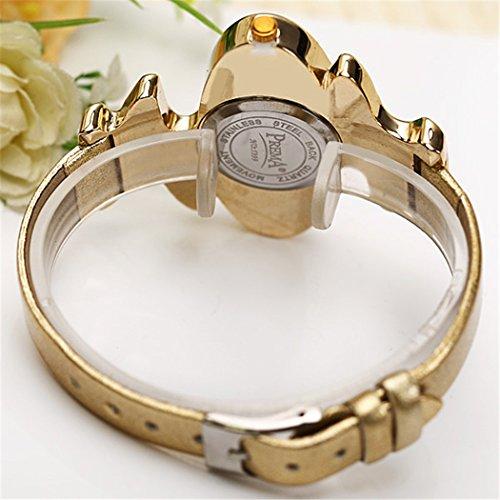 Retro Gold Leather Strap Brand Women Watch Strass Rhinestone Jewelry Quartz Wrist Watches 3