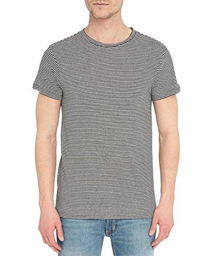 BILLTORNADE - - Uomo - T-shirt CoL Rond Rayé Noir et Blanc Jordy pour homme -