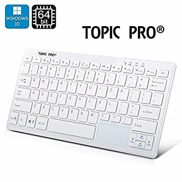 Ultra Small PC (White) + Microsoft All-in-One Media Keyboard Ordinateur Portable TOPIC PRO® with Integrated Track Pad Windows 10 HE Intel Chip