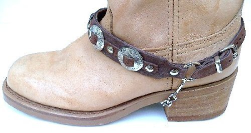 Western Boots Boot Chains Brown Leather with 3 1 Conchos NP by Dangerous Threads