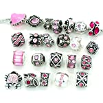 Pro Jewelry Ten (10) of Assorted Pink Crystal Rhinestone Beads (Styles You Will Receive Are Shown in Picture Random 10 Beads Mix) Charms Spacers for Bracelets
