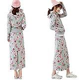 Miwoluna(ミウォルナ) 花柄 スウェット パーカー ツーピース ロング スカート レディース L