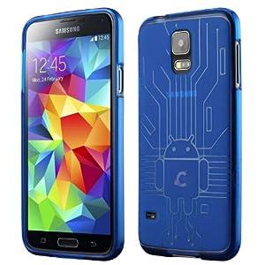 Cruzerlite Bugdroid Circuit TPU Case for the Samsung Galaxy S5 - Retail Packaging - Blue