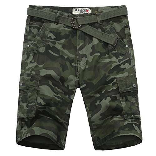 TISUN Men's Summer Casual Regular Fit Multi Pocket Army Camo Cargo Belted Shorts Army Camouflage Shorts